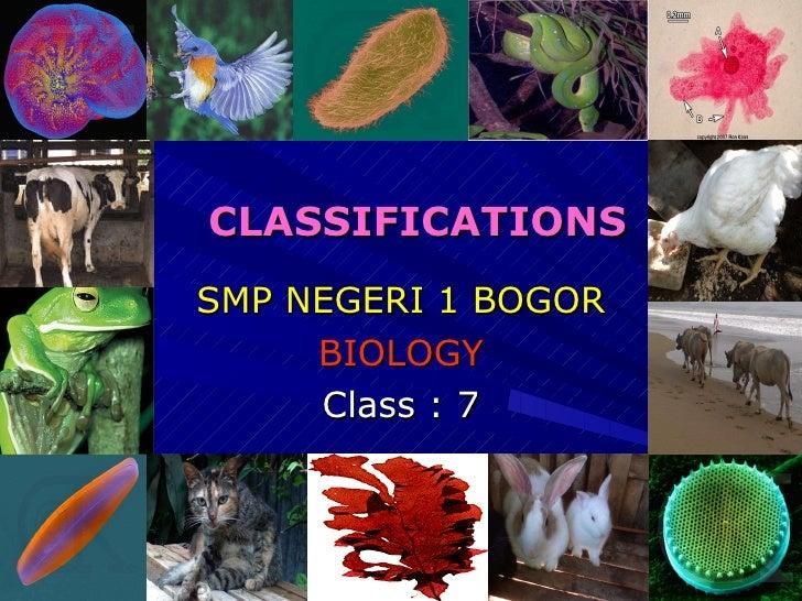 CLASSIFICATIONS <ul><li>SMP NEGERI 1 BOGOR </li></ul><ul><li>BIOLOGY </li></ul><ul><li>Class : 7 </li></ul>