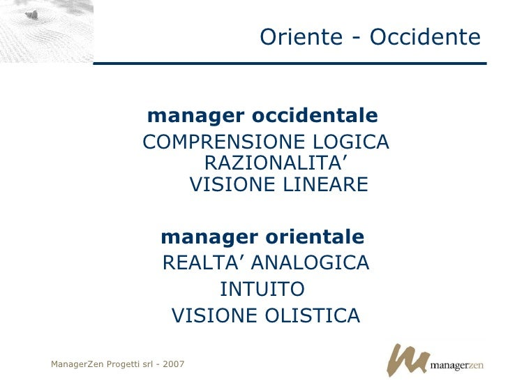 Oriente - Occidente <ul><li>manager occidentale   </li></ul><ul><li>COMPRENSIONE LOGICA RAZIONALITA'  VISIONE LINEARE </li...