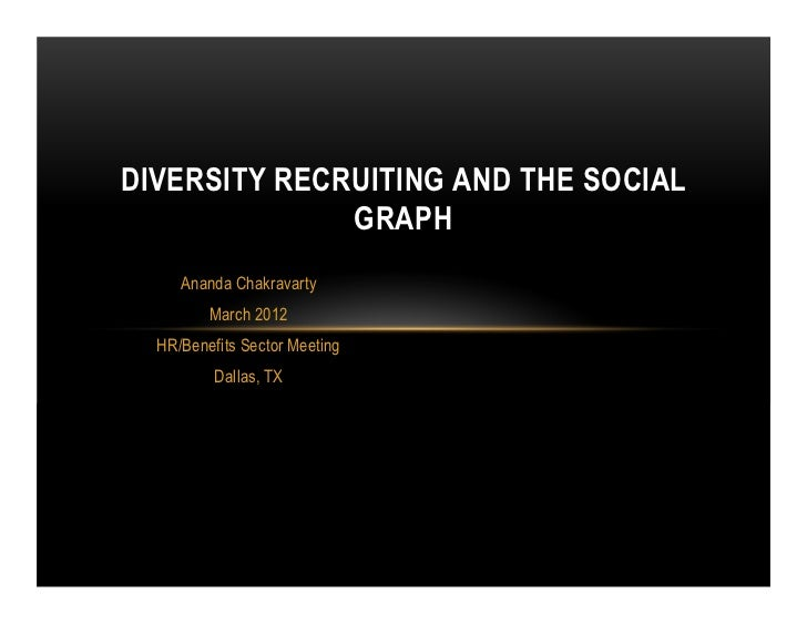DIVERSITY RECRUITING AND THE SOCIAL              GRAPH     Ananda Chakravarty         March 2012  HR/Benefits Sector Meeti...