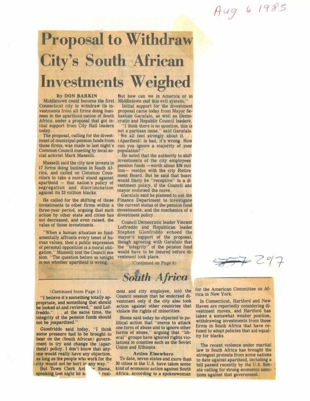 1985 Divestment News