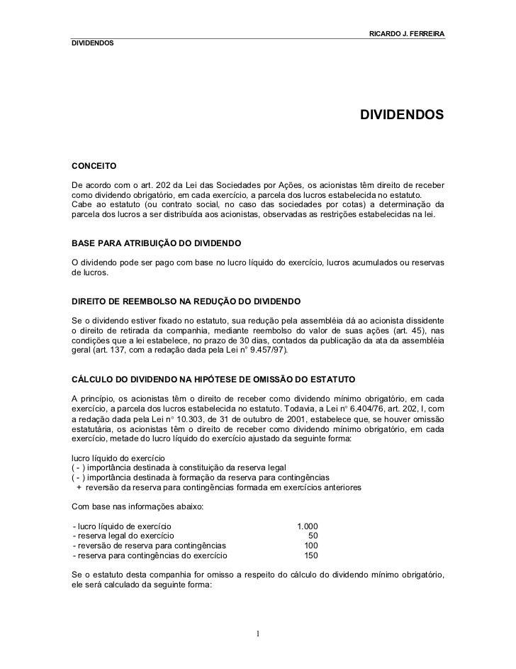 RICARDO J. FERREIRADIVIDENDOS                                                                              DIVIDENDOSCONCE...