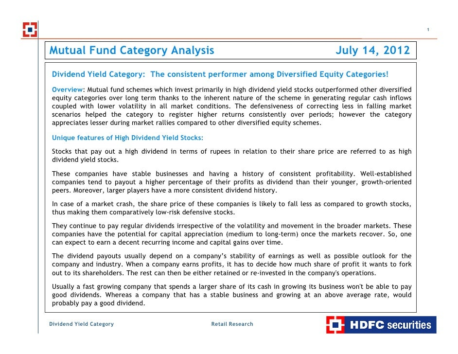 Dividend yield category - the consistent performer among diversified equity categories