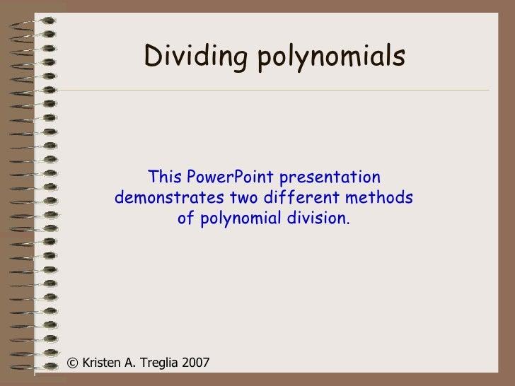 Dividing Polynomials Slide Share