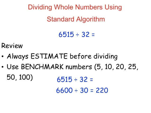 Dividing using standard algorithm
