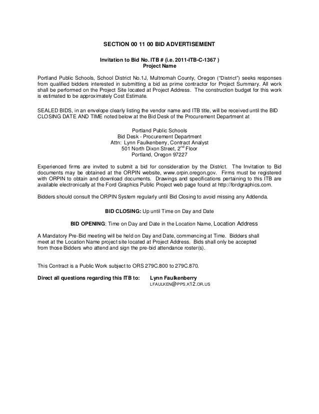 SECTION 00 11 00 BID ADVERTISEMENTInvitation to Bid No. ITB # (i.e. 2011-ITB-C-1367 )Project NamePortland Public Schools, ...