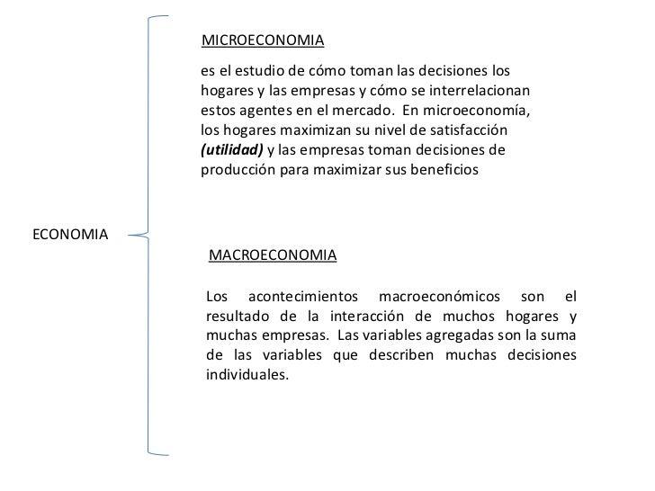 ECONOMIA MICROECONOMIA MACROECONOMIA es el estudio de cómo toman las decisiones los hogares y las empresas y cómo se inter...