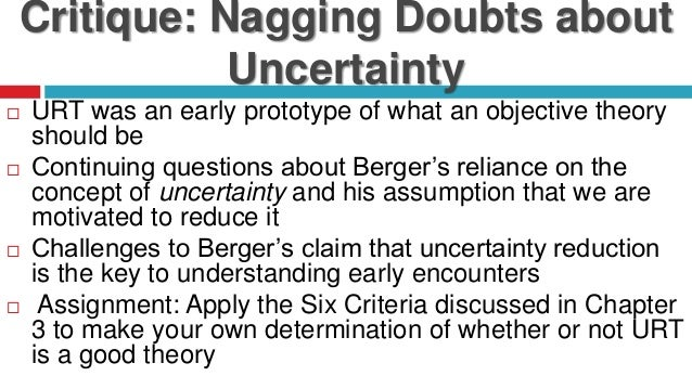 a critique on bergers uncertainty reduction theory essay Argument against uncertainty reduction theory my essay was delivered on time besides receiving a favorable grade i will recommend you to my peers thanks we can help you with customer support discounts.