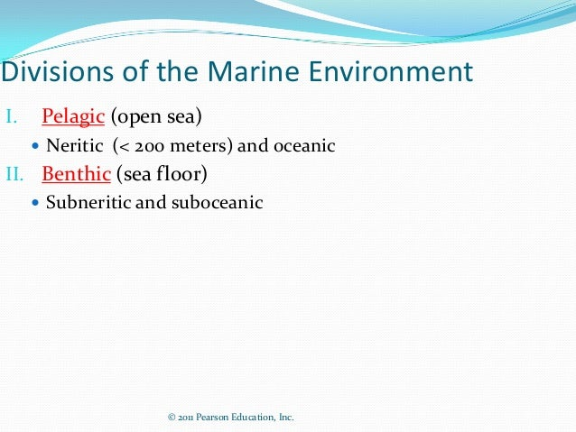© 2011 Pearson Education, Inc.Divisions of the Marine EnvironmentI. Pelagic (open sea) Neritic (< 200 meters) and oceanic...