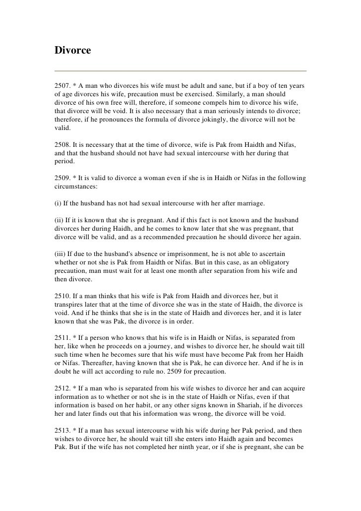 Divorce   2507. * A man who divorces his wife must be adult and sane, but if a boy of ten years of age divorces his wife, ...