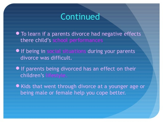 the negative impact of divorce on children Divorce can be the first in a string of dominos that knock a kid down — and keep him there.