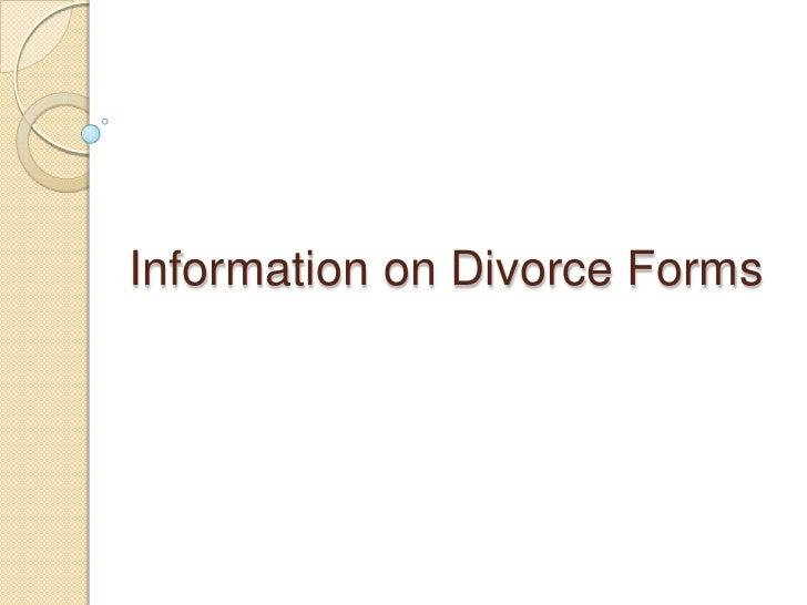 Information on Divorce Forms