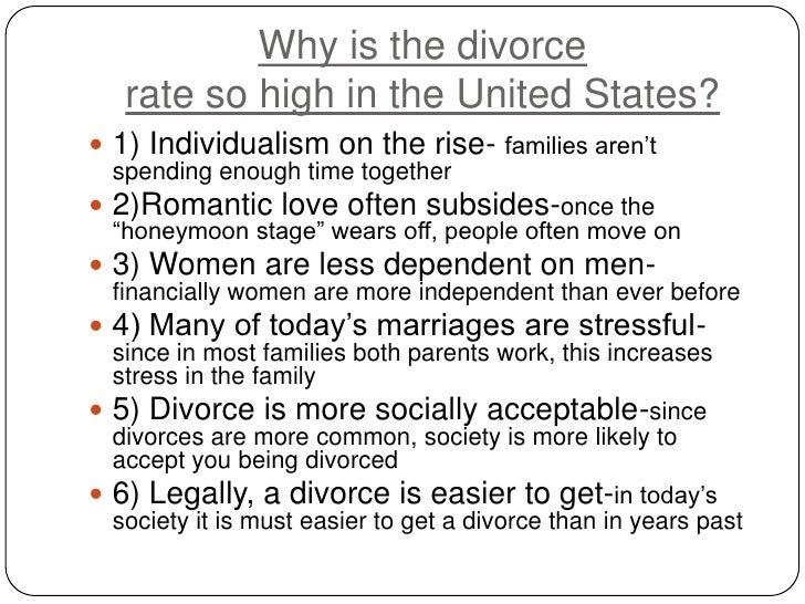 thesis statement on divorce Major thesis statements: 1) lots of women do not recognize their spouse's cruel  behavior as domestic violence, so the third party intervention (friends, relatives.