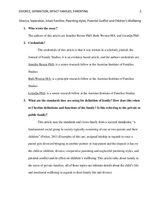 Essay on divorce
