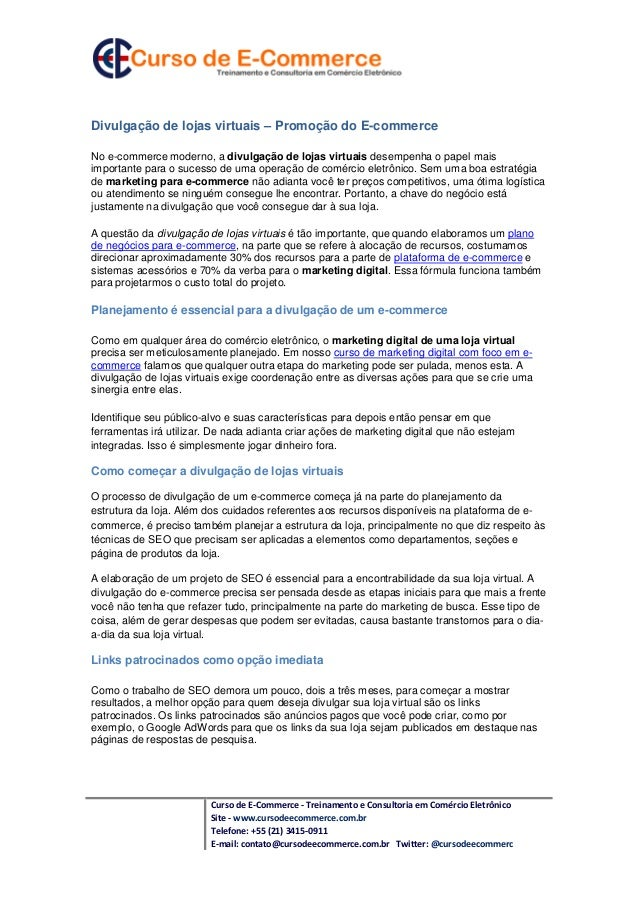Divulgação de lojas virtuais – Promoção do E-commerceNo e-commerce moderno, a divulgação de lojas virtuais desempenha o pa...