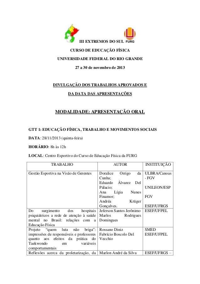 III EXTREMOS DO SUL CURSO DE EDUCAÇÃO FÍSICA UNIVERSIDADE FEDERAL DO RIO GRANDE 27 a 30 de novembro de 2013  DIVULGAÇÃO DO...