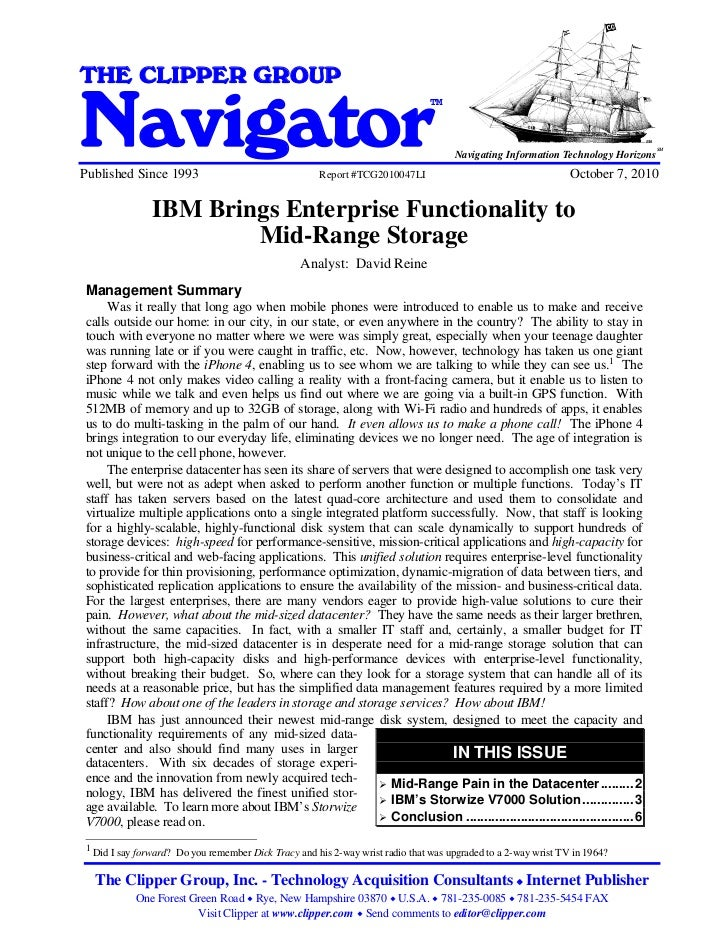 IBM Brings Enterprise Functionality to Mid-Range StorageTHE CLIPPER GROUPNavigator                                        ...