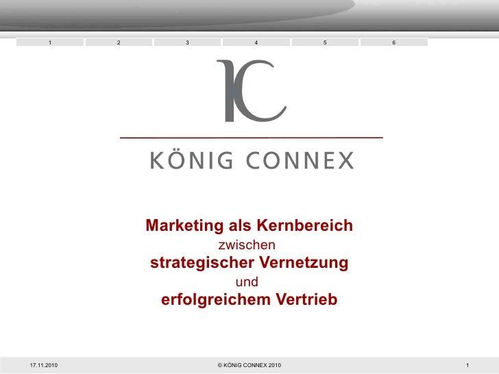 Marketing als Kernbereich zwischen   strategischer Vernetzung und   erfolgreichem Vertrieb 17.11.2010 © KÖNIG CONNEX 2010