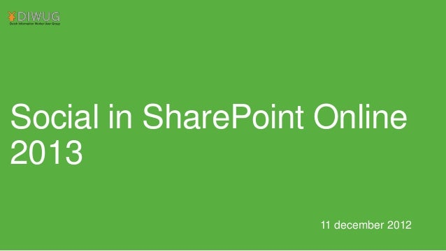 Social in SharePoint Online 2013 11 december 2012