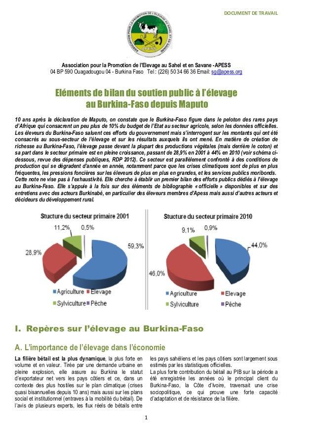 DOCUMENT DE TRAVAIL 1 Association pour la Promotion de l'Elevage au Sahel et en Savane -APESS 04 BP 590 Ouagadougou 04 - B...