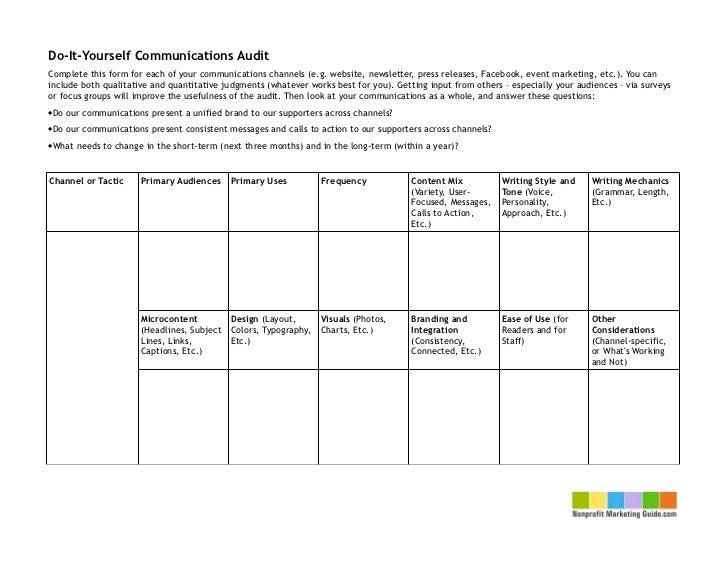diy communications audit chart. Black Bedroom Furniture Sets. Home Design Ideas