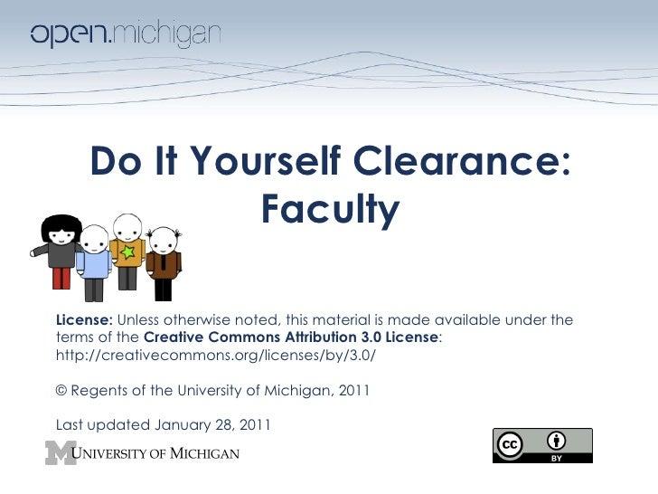 DIY Clearance for Faculty