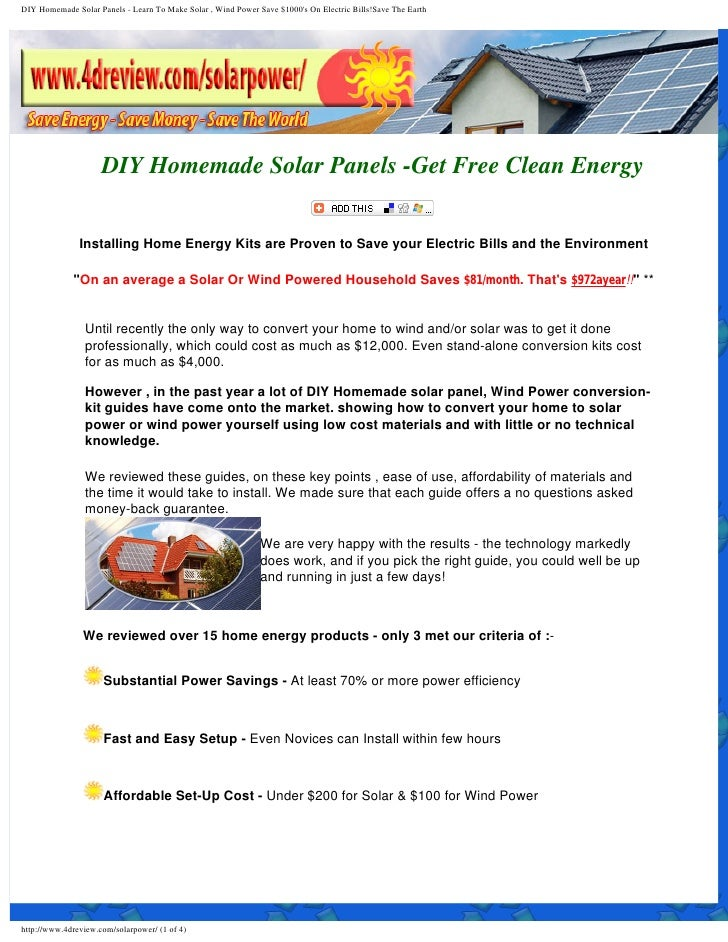 Diy Solar Power Panels For Home Use Solar Electricity Review