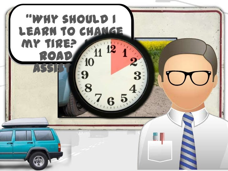 """""""Why should I   Introductionlearn to changemy tire? I have   road side  assistance."""""""