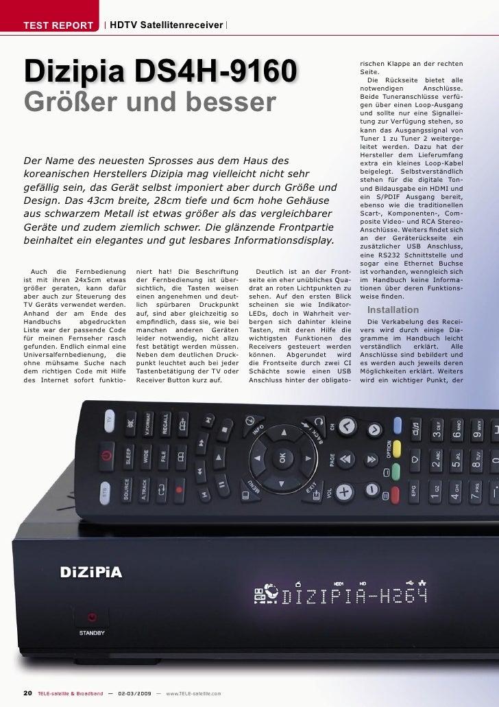 TEST REPORT                  HDTV Satellitenreceiver     Dizipia DS4H-9160                                                ...