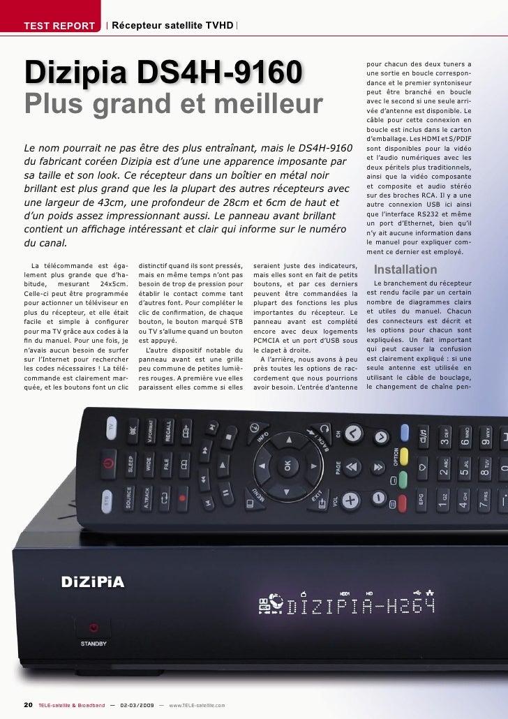 TEST REPORT                  Récepteur satellite TVHD     Dizipia DS4H-9160                                               ...