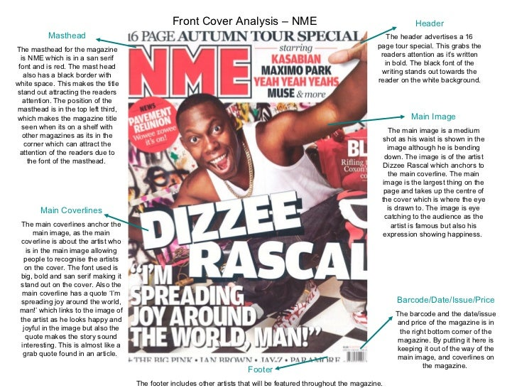 Masthead The masthead for the magazine is NME which is in a san serif font and is red. The mast head also has a black bord...