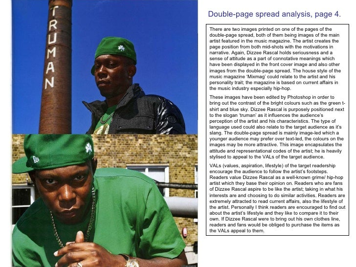 Double-page spread analysis, page 4. There are two images printed on one of the pages of the double-page spread, both of t...