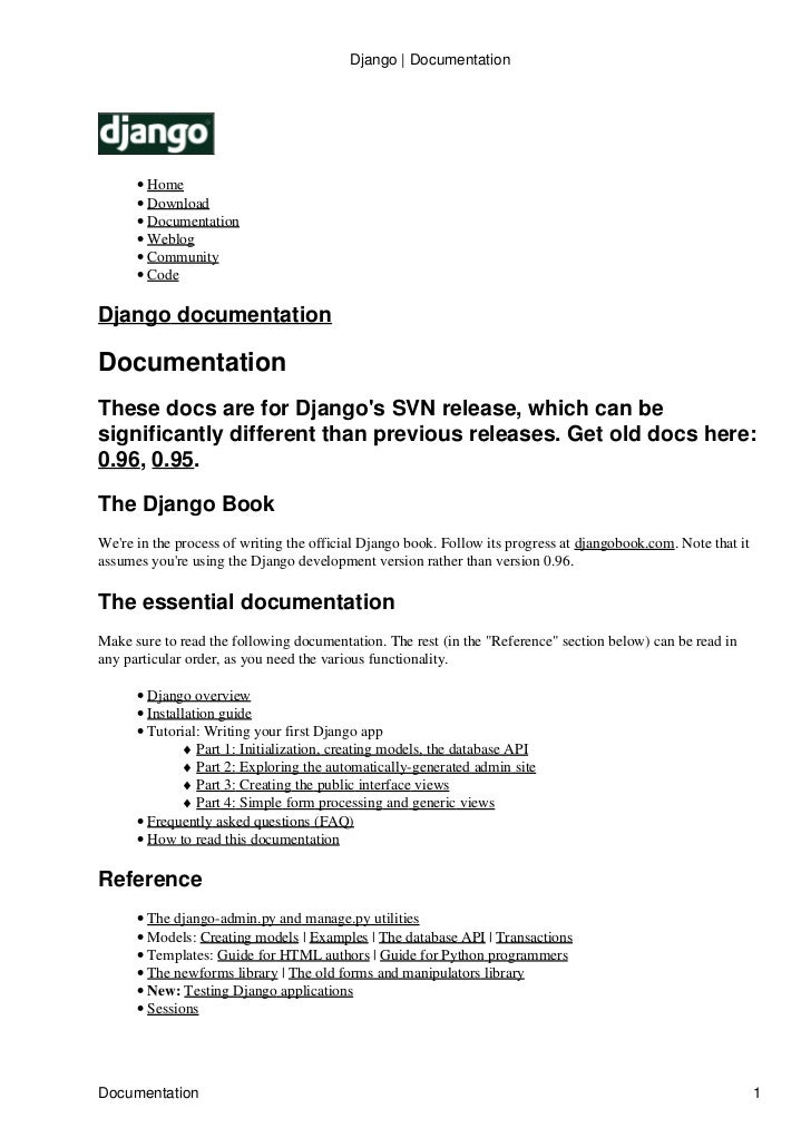 Django | Documentation           • Home       • Download       • Documentation       • Weblog       • Community       • Co...