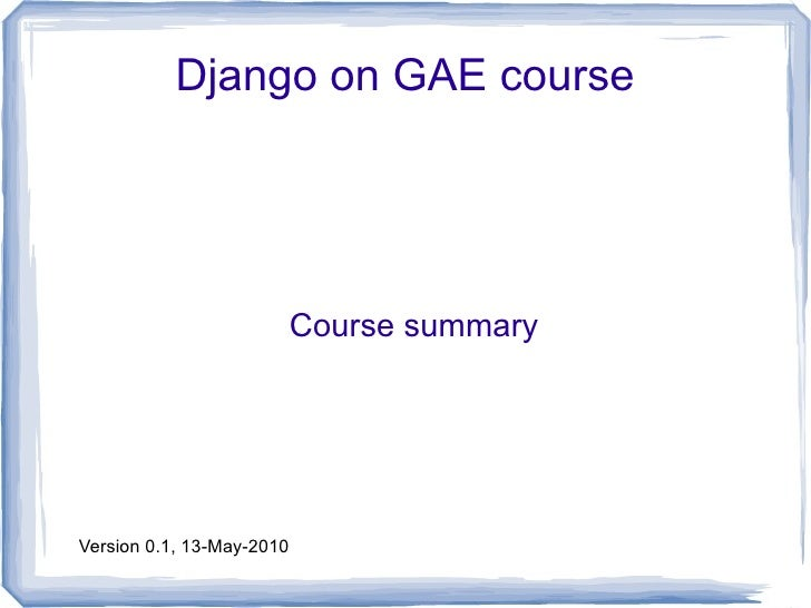 Django course summary