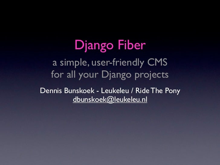 Django Fiber - a simple, user-friendly CMS for all your Django projects