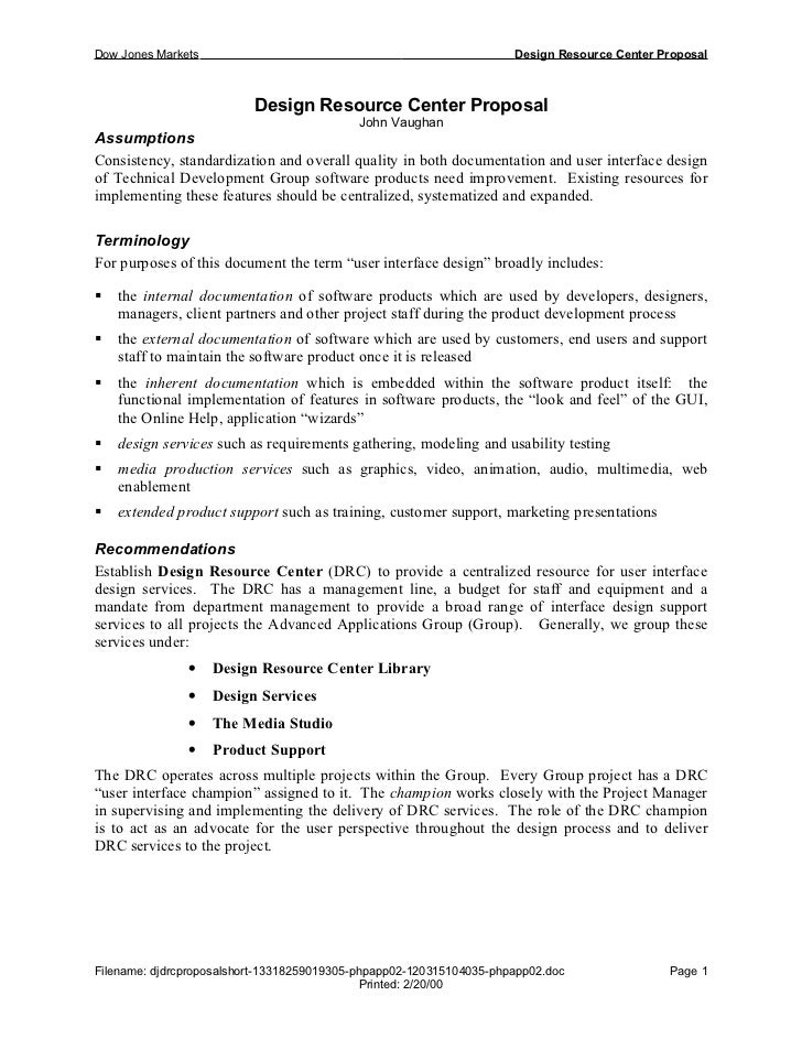 Dow Jones Markets                                                    Design Resource Center Proposal                      ...