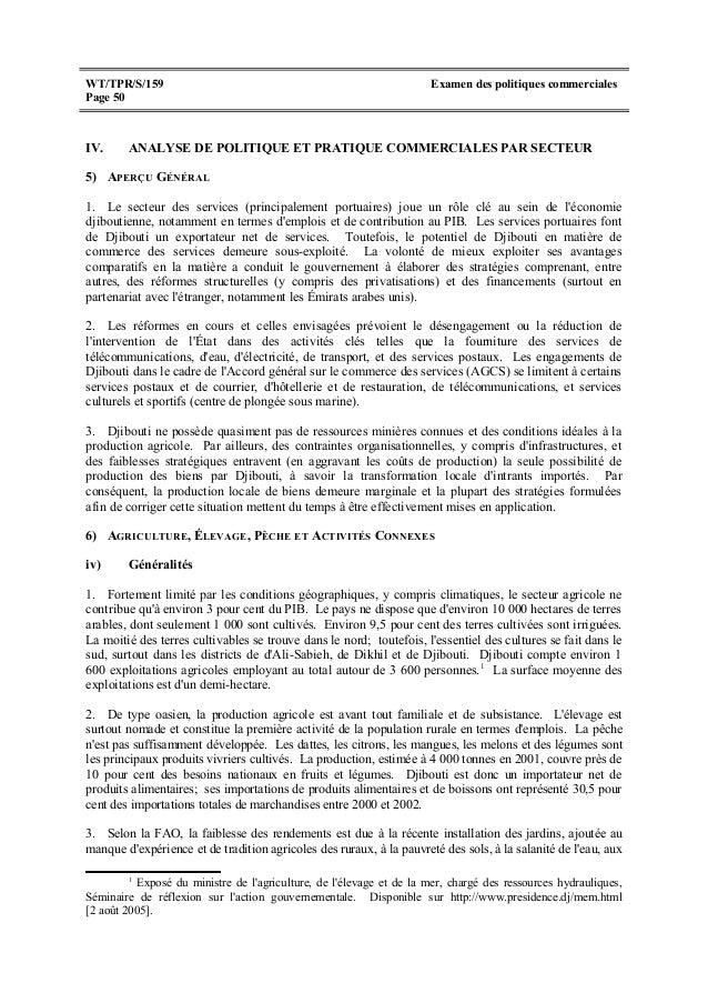 Djibouti analyse de politique et pratique commerciales par secteur