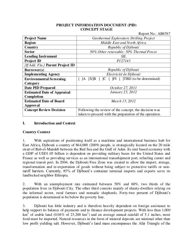 PROJECT INFORMATION DOCUMENT (PID) CONCEPT STAGE Report No.: AB6767 Project Name Geothermal Exploratory Drilling Project R...