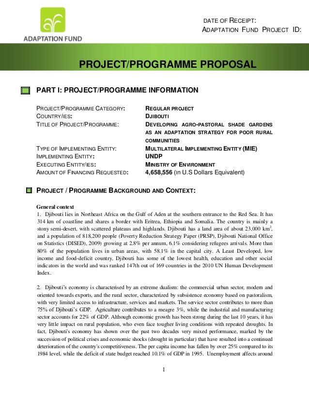 Djibouti proposal with annexes final agriculture estimés à 18 475 000 $EU