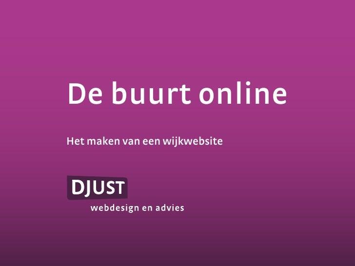 De buurt online Het maken van een wijkwebsite