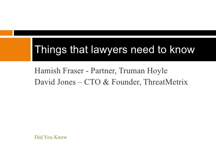 Techy Things lawyers need to know