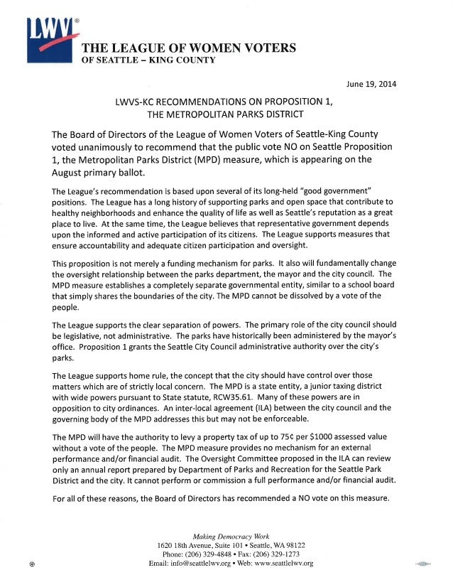 LWV NO Statement on Metropolitan Parks District