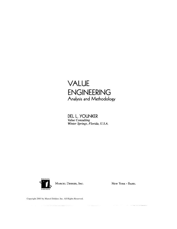 VALUE                                          ENGINEERING                                          Analysis and Methodolo...