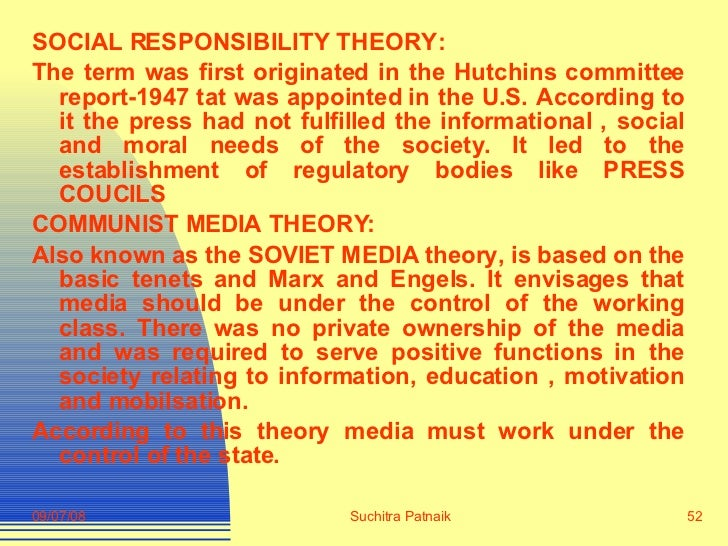 social responsibility theory of the media pdf