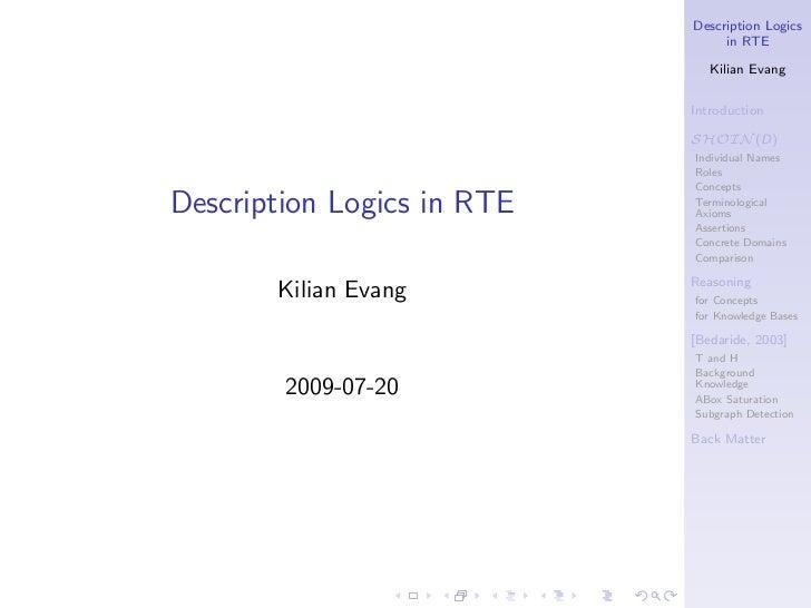 Description Logics                                 in RTE                               Kilian Evang                      ...