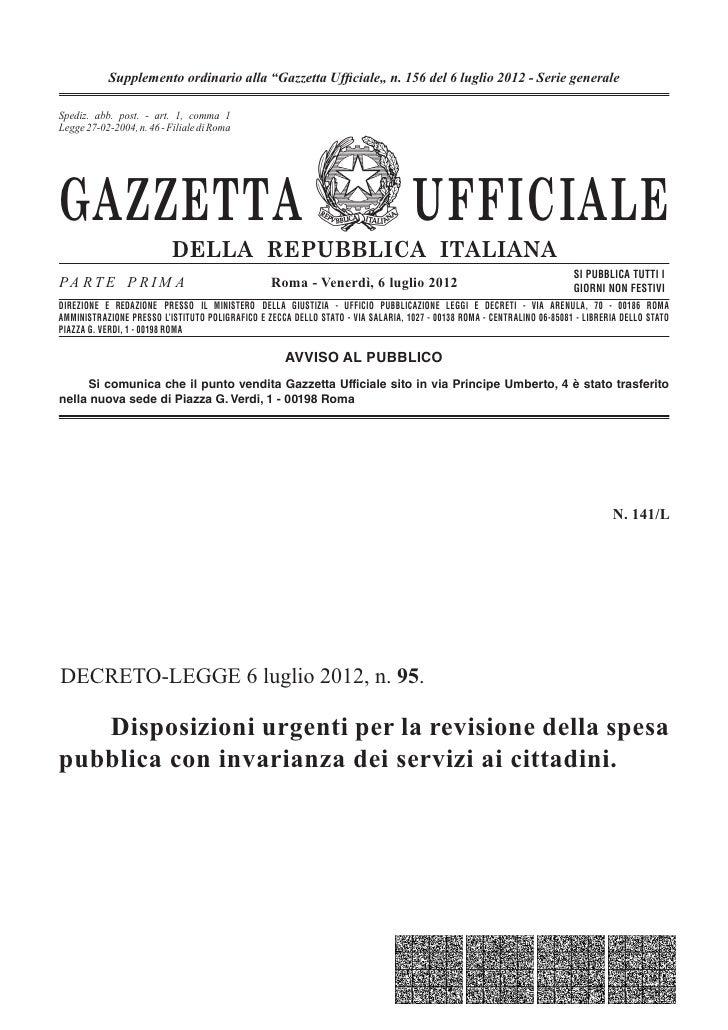 """Supplemento ordinario alla """"Gazzetta Ufficiale"""" n. 156 del 6 luglio 2012 - Serie generaleSpediz. abb. post. 45% - 1, comma ..."""