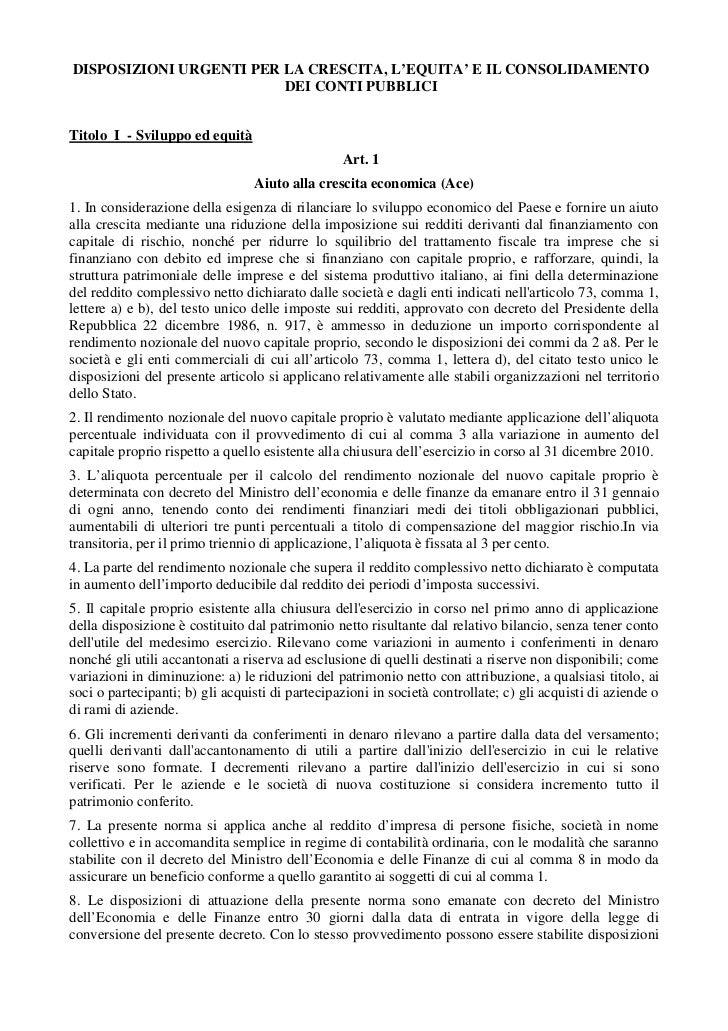 Il testo integrale del Decreto Legge del Governo Monti