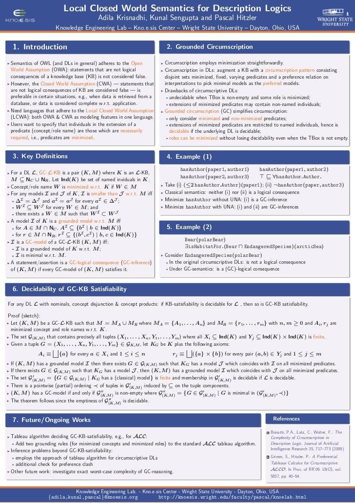 Local Closed World Semantics for Description Logics                                           Adila Krisnadhi, Kunal Sengu...
