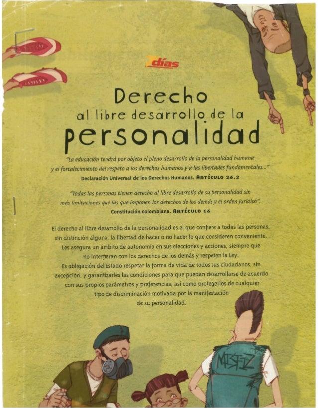 """Derechol  oil libre desarrollo de la  personahdad  """"La educación tendra' por objeto el pleno desarrollo de ia personalidad..."""