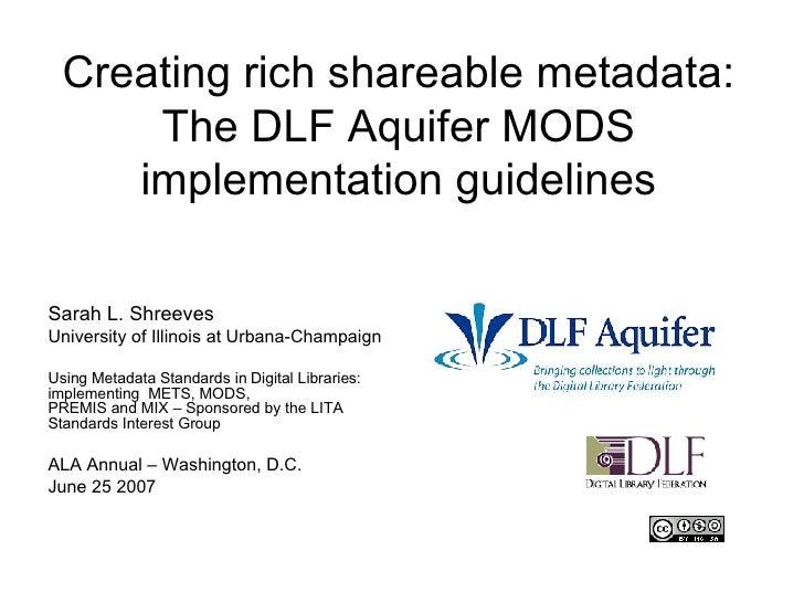 DLF Aquifer MODS Implementation Guidelines