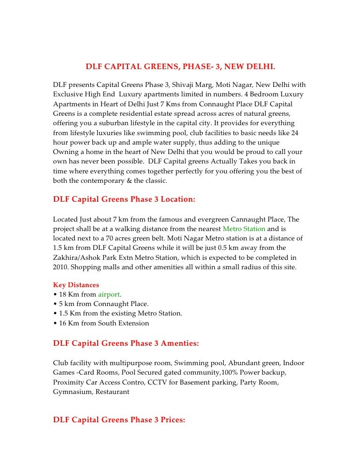 News!! DLF Capital Greens Phase 3 !! 9999998663!! Capital Greens Phase 3  !! DLF Capital Greens Phase 3 New Delhi